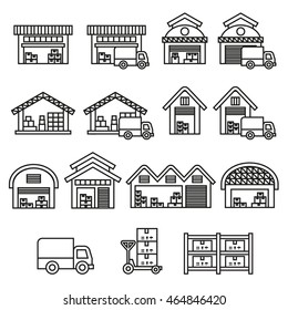Warehouse building icon. Stock icon. Line Style stock vector.
