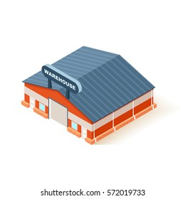 Warehouse building in isometric flat style isolated on white