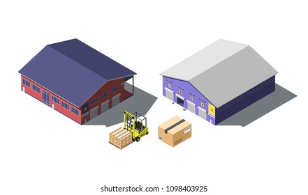 Warehouse building isometric set with forklift truck and cardboard boxes, isolated on white