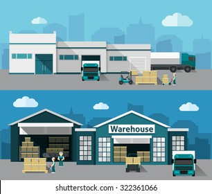 Warehouse building and shipping process flat horizontal banner set isolated vector illustration
