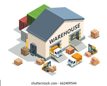 Warehouse building, trucks and load machines. Different pallets and boxes. Logistics vector illustrations