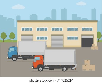 Warehouse building and two trucks on city background. Flat style vector illustration.