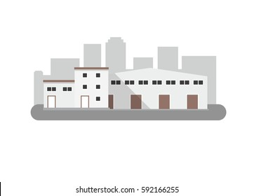 Warehouse building - vector illustration in flat style.