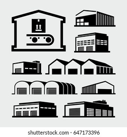 Warehouse Buildings Vector Icons
