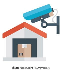 Warehouse with cctv camera, flat icon.