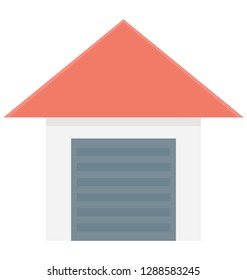 Warehouse Color Vector icon which can be easily modified or edit