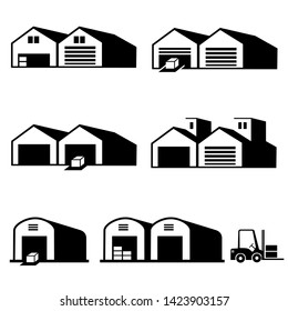 Warehouse and delivery icons vector.