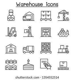 Warehouse, delivery, shipment, logistic icon set in thin line style