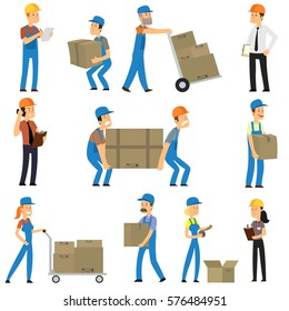 Warehouse and delivery workers. Foreman, manager and delivery boy. vector illustration.