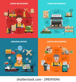 Warehouse design concept set with worldwide logistic flat icons isolated vector illustration