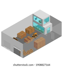 Warehouse and distribution center Isometric view