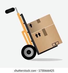 Warehouse equipment. Cargo delivery, storage service, forklift truck. Vector illustration.