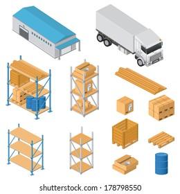 Warehouse equipment icons