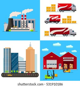 Warehouse, Factory building, city and transportation cars