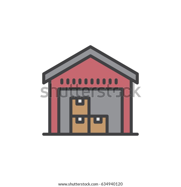 Warehouse filled outline icon, line vector sign, linear colorful pictogram. Symbol, logo illustration. Pixel perfect