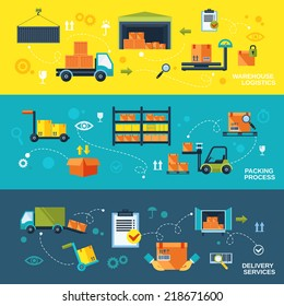 Warehouse flat banners set of logistics packing process delivery services isolated vector illustration