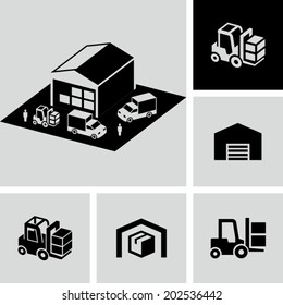 Warehouse forklift delivery truck vector icons