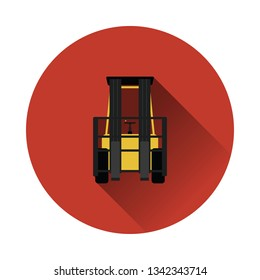 Warehouse forklift icon. Flat color with shadow design. Vector illustration.