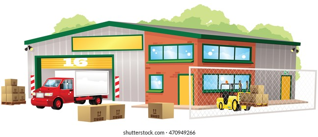 Warehouse and goods.
