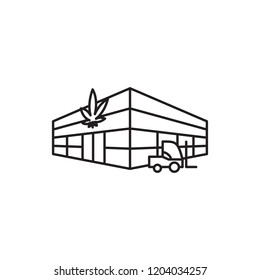 Warehouse Grow Industrial Centre Marijuana Cannabis Medicinal vector black line art symbols on white background for commercial business medical marijuana cannabis health services website