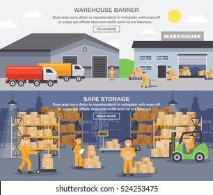 Warehouse horizontal banners with storage workers engaged in loading and unloading of goods flat vector illustration