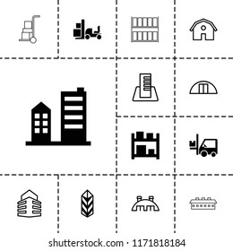 Warehouse icon. collection of 13 warehouse filled and outline icons such as cargo, forklift, building, barn, storage, cargo barn. editable warehouse icons for web and mobile.