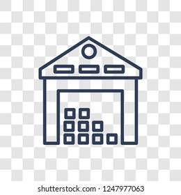 Warehouse icon. Trendy linear Warehouse logo concept on transparent background from Architecture and Travel collection