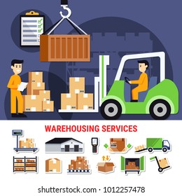 Warehouse icons collection with building outside, shelves with goods, truck with cartons, weight check isolated vector illustration
