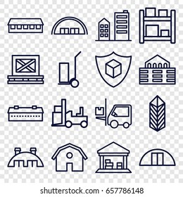 Warehouse icons set. set of 16 warehouse outline icons such as barn, forklift, cart cargo, cargo on palette, building