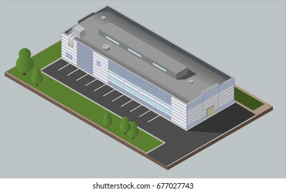 Warehouse Industrial area with seating for loading and unloading, shipping and delivery, transportation and building. Isolated vector 3D isometric concept