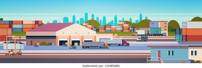 warehouse industrial container semi trailer cargo freight outdoor international delivery concept flat horizontal banner vector illustration