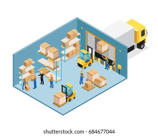 Warehouse inside isometric composition including manager and workers, forklifts, shelves with goods, unloading cargo vector illustration