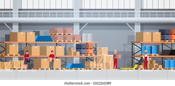 Warehouse Interior Box On Rack And People Working. Logistic Delivery Service Concept Flat Vector Illustration