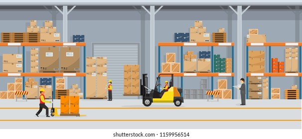 Warehouse Interior with Boxes On Rack And People Working. Flat vector and solid color style Logistic Delivery Service Concept illustration.