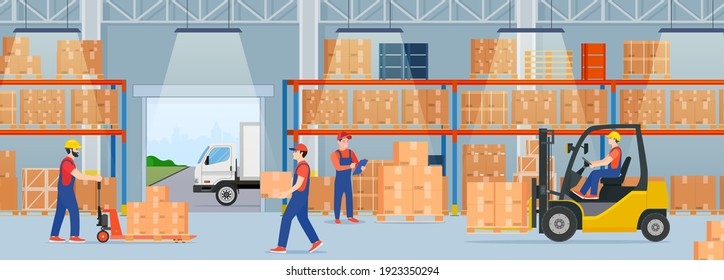 Warehouse interior with cardboard boxes and cargo truck. Staff surrounded by boxes on rack and transport of storehouse interior. pallet trucks, forklift truck. Vector illustration in flat style