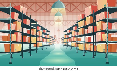 Warehouse interior with cardboard boxes on metal racks. Vector cartoon illustration of empty storehouse interior with goods, cargo and parcels on shelves. Storage room in store, market