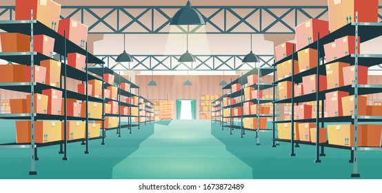 Warehouse interior with cardboard boxes on metal racks. Vector cartoon illustration of empty storage room interior with goods, cargo and parcels on shelves. Storehouse in store, garage, market