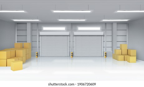 Warehouse interior with closed gates and cardboard boxes. Vector realistic illustration of empty storage room in store, factory or workshop with rolling shutter on doors