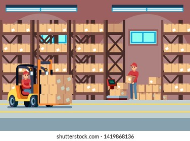 Warehouse interior. People loaders working in industry stockroom, transportation and forklift, delivery truck with pallet vector logistic concept