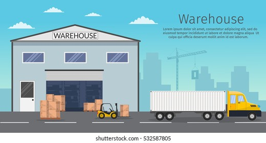 Warehouse interior storage vector set with shipping and delivery, roof and lamps flat illustration Logistic concept wagon export truck