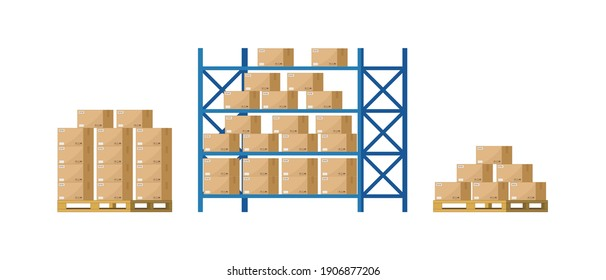 Warehouse inventory with rack, pallet and boxes. Shelf for storage of cargo. Stock of wholesale goods in warehouse of logistic. Icon of store, distribution. Merchandise on shelves of factory. Vector.