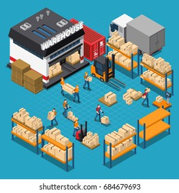 Warehouse isometric composition with employees and storage building shelves and boxes transportation on blue background vector illustration