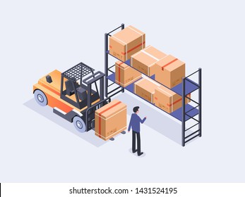 Warehouse isometric compositions including unloading cargo, inventory assorting and storage