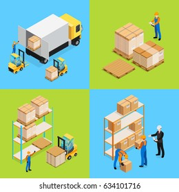 Warehouse isometric compositions including unloading cargo, inventory assorting and storage of goods isolated vector illustration