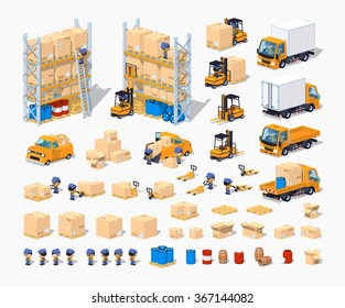 Warehouse isometric infographic construction set. Build your own design