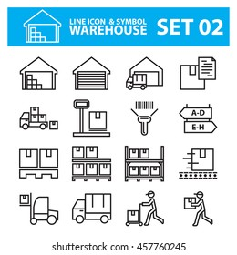 warehouse line icon vector set