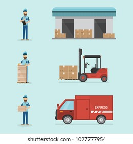 warehouse and logistic flat design. Delivery and storage with workers, cargo box, car and forklift. vector illustration