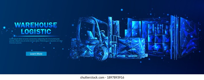 Warehouse logistics. Abstract vector in futuristic polygonal style with wireframe, lowpoly triangles on a blue background with stars. Logistics concept. Transportation and distribution of goods.