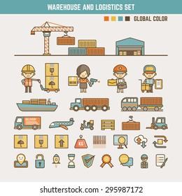 warehouse and logistics infographic elements for kid including characters and icons