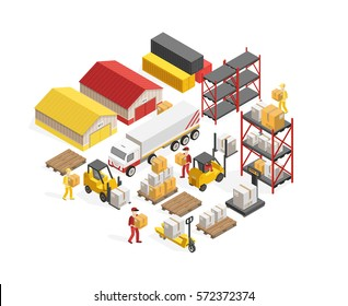 Warehouse logistics isometric concept with storage buildings and containers freight and employees forklifts and truck vector illustration